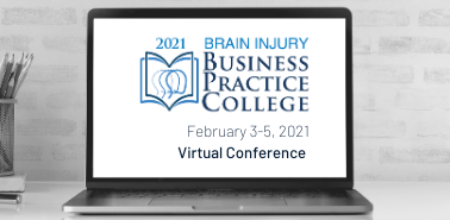 Brain Injury Business Practice College Virtual Conference logo on laptop screen