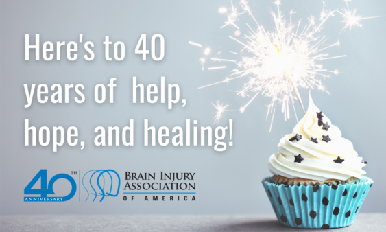 Here's to 40 years of help hope and healing. BIAA 40th anniversary graphic with blue cupcake.