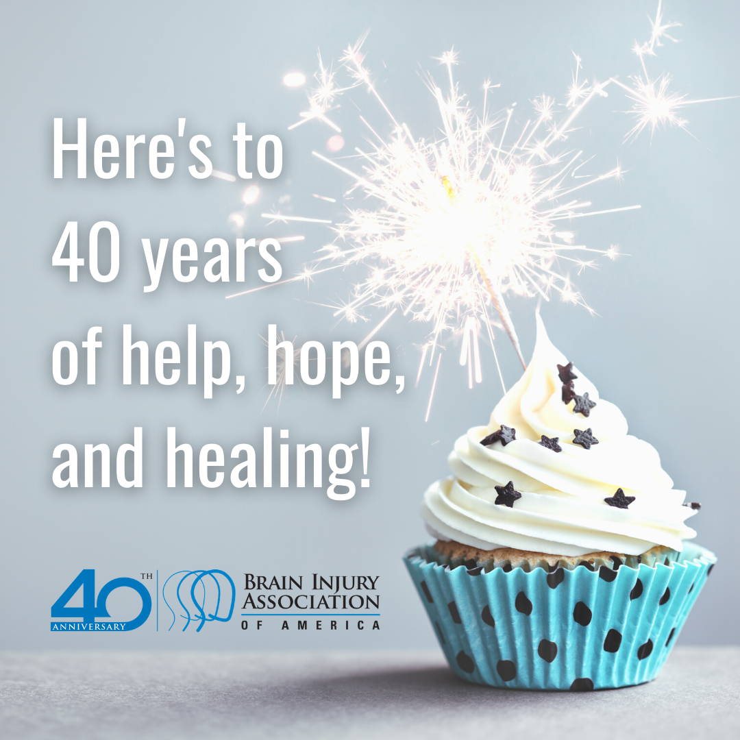 Heres to 40 years of help hope and healing. BIAA 40th anniversary graphic with blue cupcake and candle.