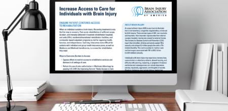 Computer screen showing BIAA Legislative Issue Brief on Increasing Access to Care for Individuals with Brain Injury