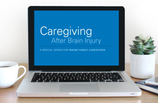 Laptop screen showing Caregiving After Brain Injury educational series title.