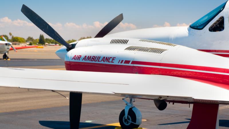 air ambulance on tarmac