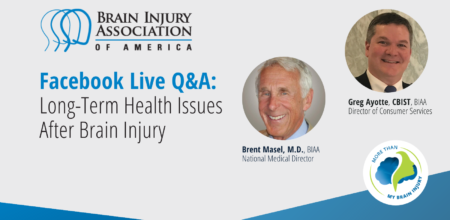 Facebook Live Q&A on Long-Term Health After Brain Injury with Dr. Brent Masel - promo image with Dr. Masel headshot and Greg Ayotte headshot
