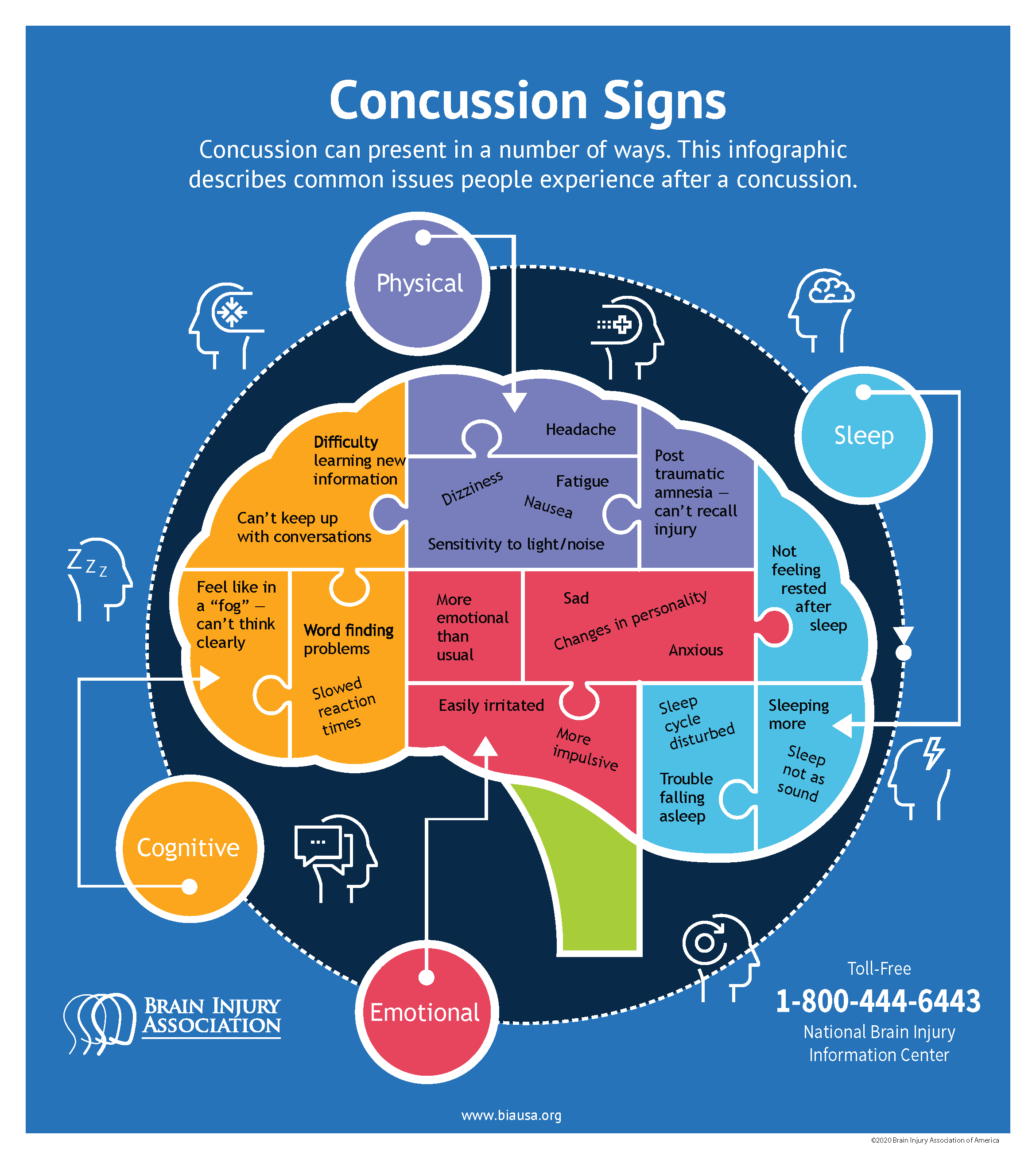 Concussion signs infographic
