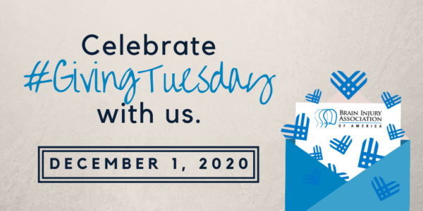 Celebrate #GivingTuesday with us December 1, 2020. Picture of blue envelope with BIAA logo and blue hearts.
