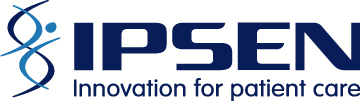Ipsen - innovation for patient care - logo in navy colored font