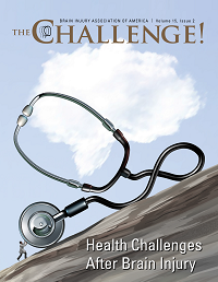 The Challenge newsmagazine cover on Health Challenges. Vol. 15 Iss. 2. Picture of a doctor pushing a stethoscope up a mountain.