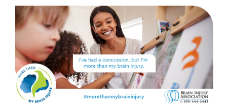 Image showcasing More Than My Brain Injury campaign social graphics. Graphic represents someone who sustained a concussion.