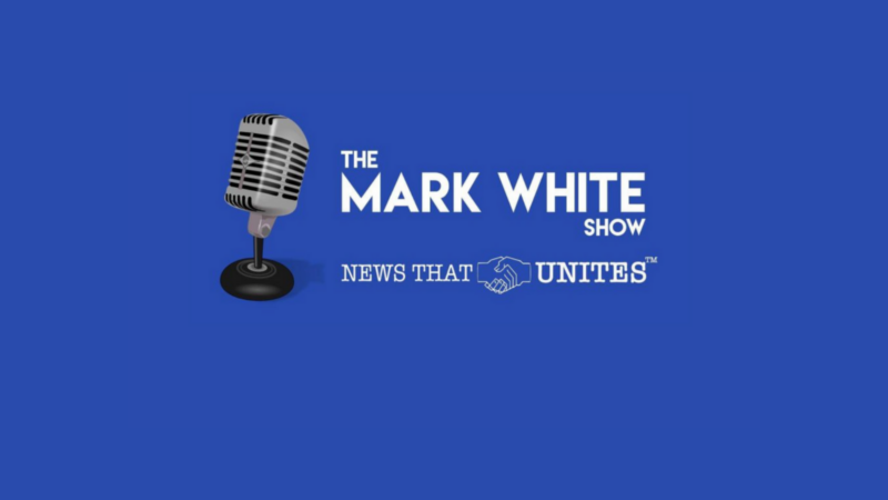 The Mark White Show logo. Text underneath says News that Unites