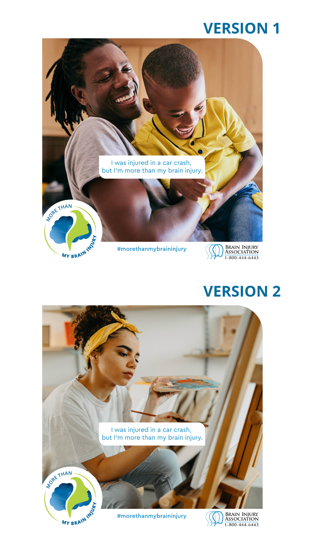 Preview images showcasing More Than My Brain Injury campaign social graphics. Each graphic represents a person who sustained a brain injury from a car crash.